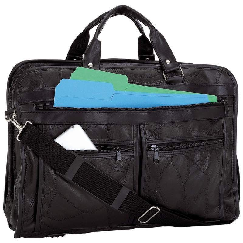 8fa67070e196 Maxam ® Brand Italian Mosaic™ Design Genuine Black Leather Briefcase  Maxam   LeatherBriefcase