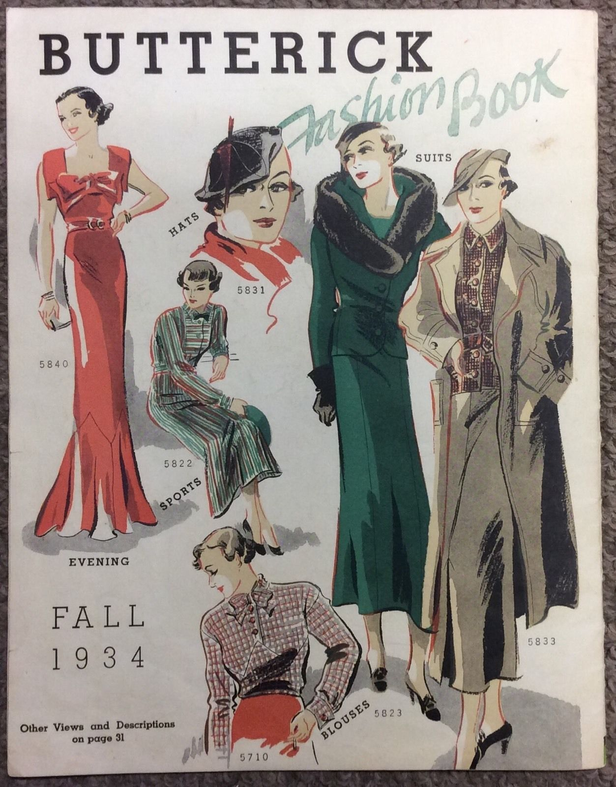Winter Fall Fashion Butterick 5831 Hat 5823 And 5833 In Book 1934