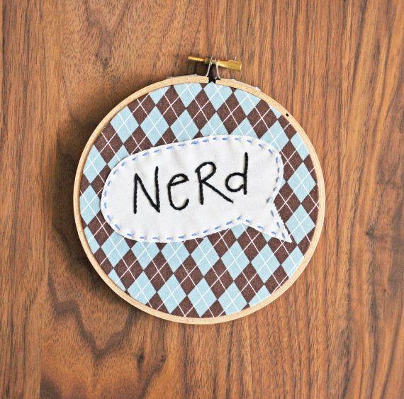 Nerd Wall Embroidery via Etsy