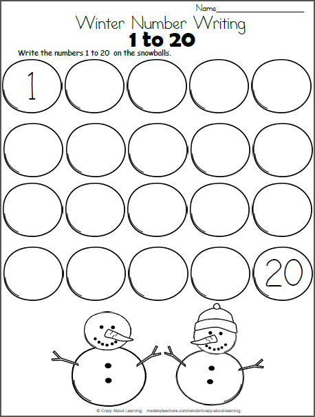Snowball Math - Write the Numbers to 20   Math writing ...
