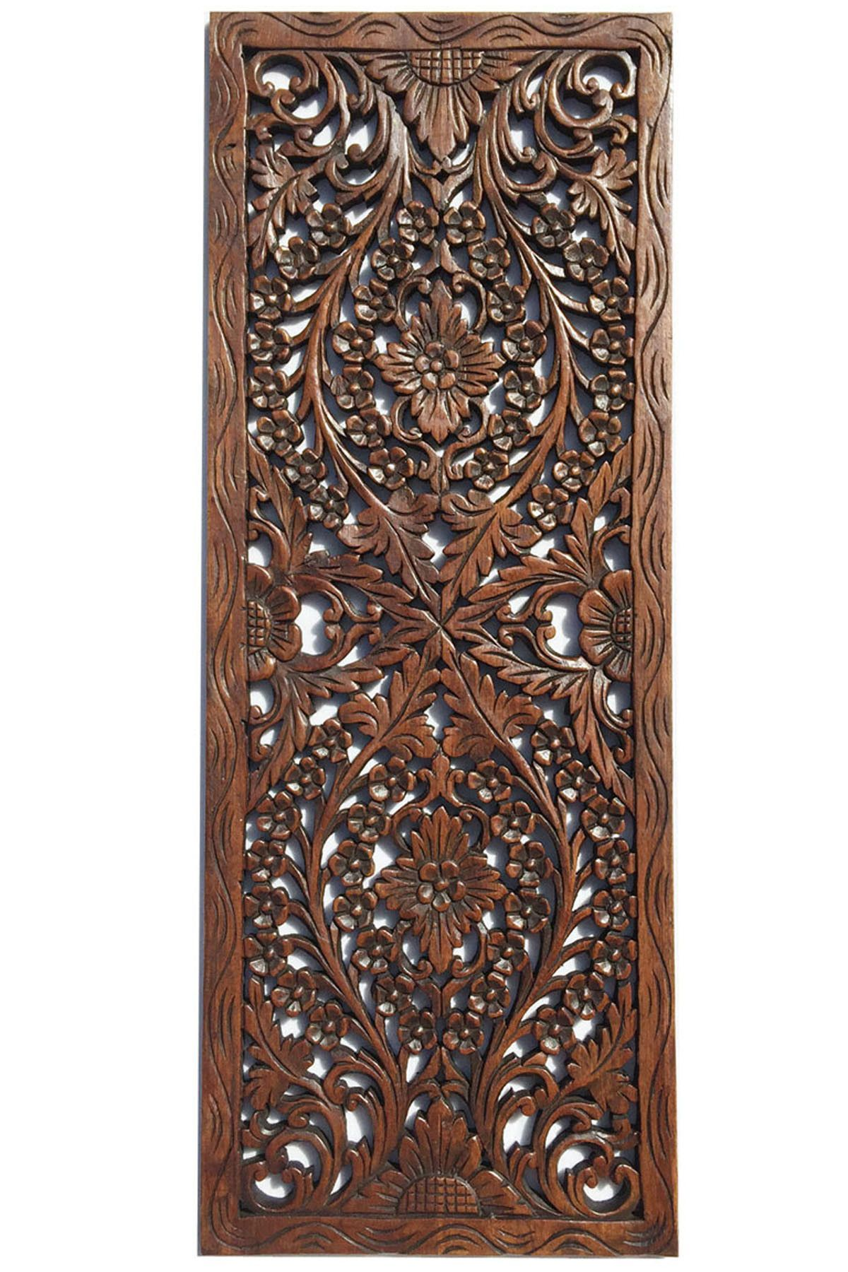 Floral Wood Carved Wall Panel. Wall Hanging. Asian Home Decor. Decorative  Thai Wall - Floral Wood Carved Wall Panel. Wall Hanging. Asian Home Decor