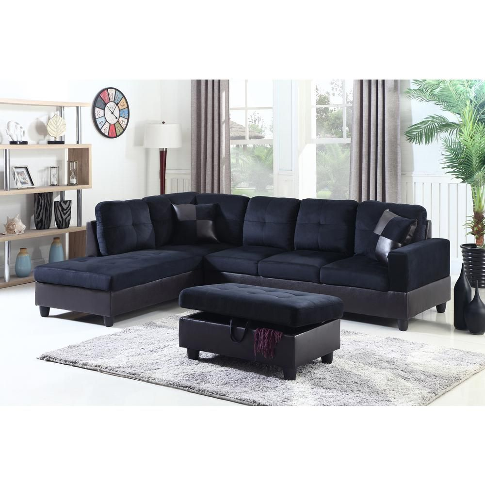 Best Midnight Blue Microfiber And Faux Leather Left Chaise 640 x 480