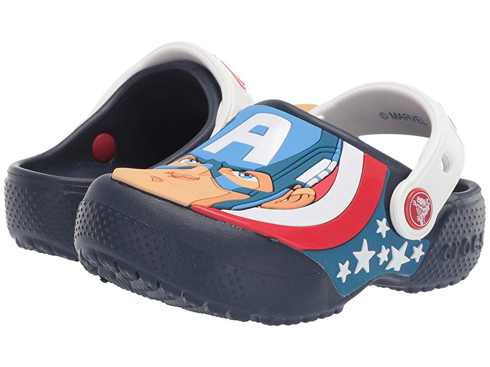 4203b8f69565 Crocs Kids CrocsFunLab Captain America Clog (Toddler Little Kid) Boys Shoes  Navy