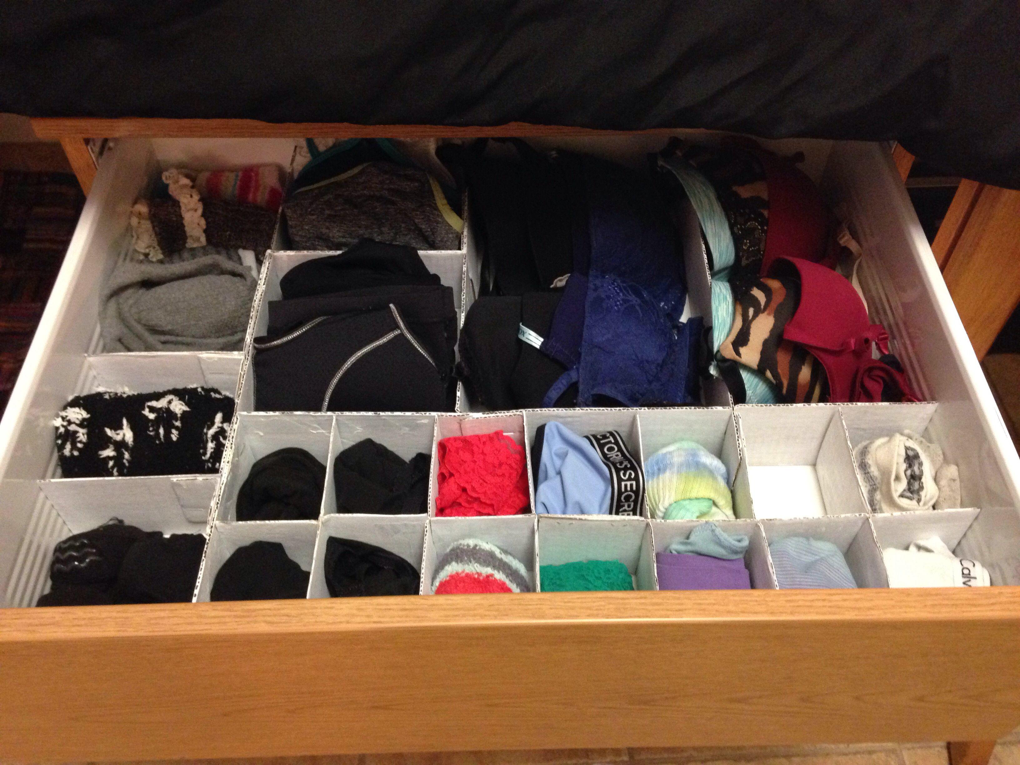Easy DIY Organize underwear drawer Underwear