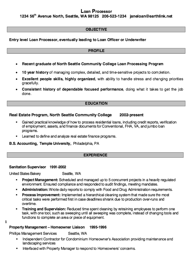 Loan Processor Resume Samples Resumesdesign Loan Mortgage Processor Resume