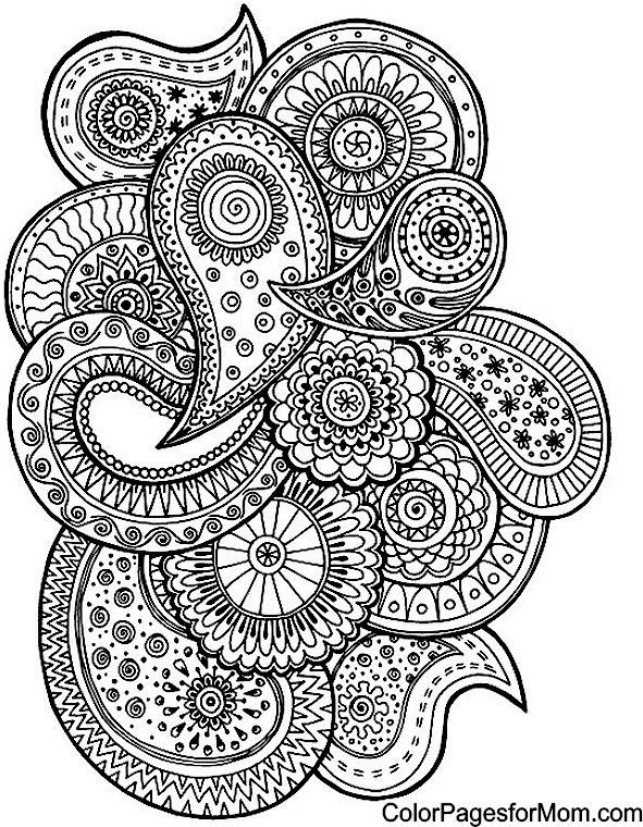 Persnickety image in paisley printable coloring pages