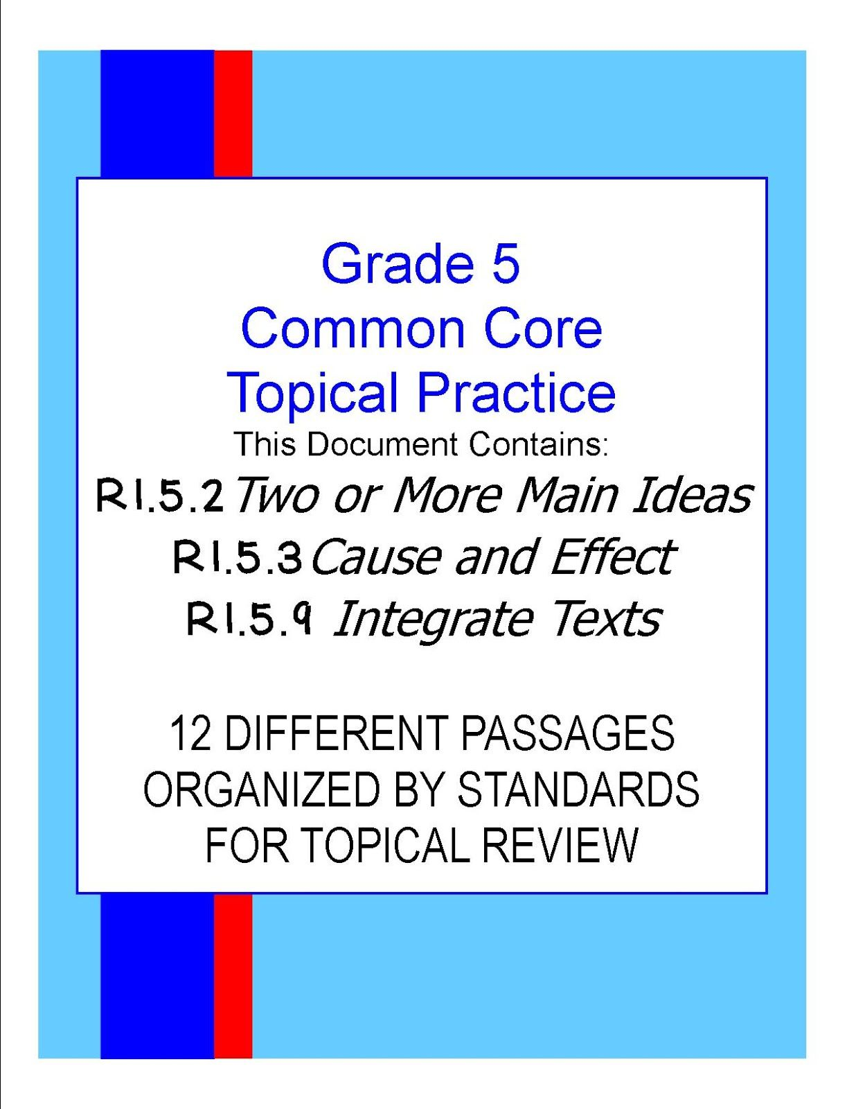 Grade 5 Common Core Reading Assessments Worksheets