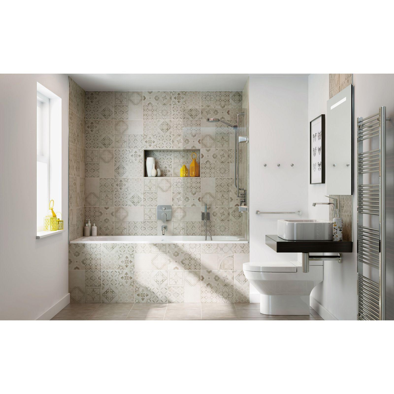 Atlas Grey Patchwork Ceramic Wall Floor Tile 9 Pack At Homebase
