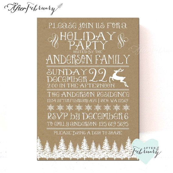 Christmas Party Invitation Christmas Invite by AfterFebruary The