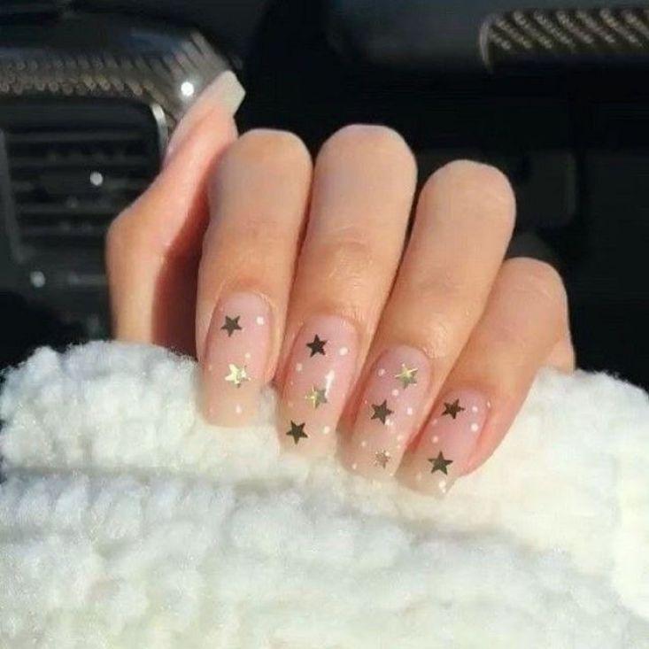 Stars On Blush Nail Art Design Celestial Nail Art Inspiration In 2020 Kylie Nails Blush Nails Lavender Nails