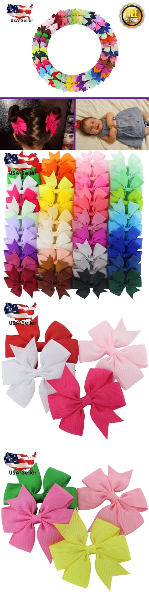 Hair accessories for babies ebay - Hair Accessories 18786 40 Pc Fortop Baby Girls Boutique Grosgrain Ribbon Pinwheel Hair Bows