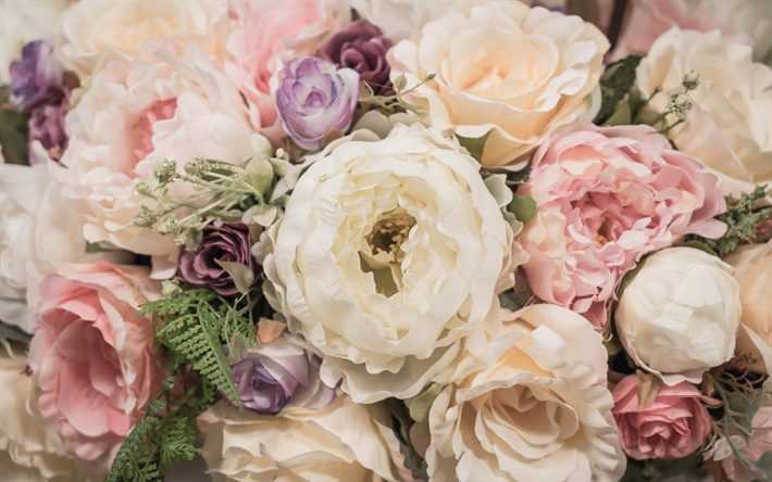 Fondo De Pantalla Flores Blancas En Fondo Rosa: Descargar Fondos De Pantalla Amplio Y Hermoso Ramo De