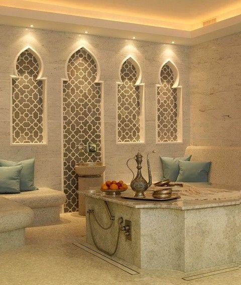 Modern Moroccan Bathroom Design unaufdringlich aber exotisch, beleuchtung der bogenspitzen ist
