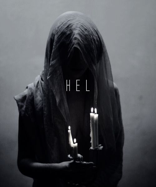 In Norse mythology, Hel is the goddess of death and the afterlife who presides over a realm of the same name, located in Niflheim. She is the youngest child of the trickster god Loki and the giantess Angrboða. She is often described as a hag; half alive and half dead, with a gloomy and grim expression. Her face and body are those of a living woman, but her legs are those of a corpse, mottled and moldering. Cast into Helheim by Odin, Hel receives a portion of the dead and distributes those ..... #norsemythology