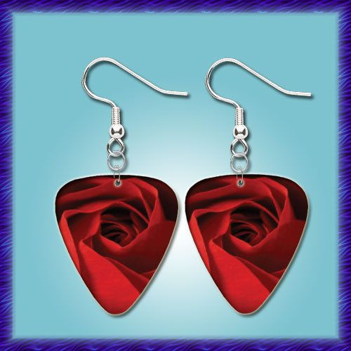 Pick Chick Rose GUITAR PICK EARRINGS by Pickchickusa on Etsy, $10.00