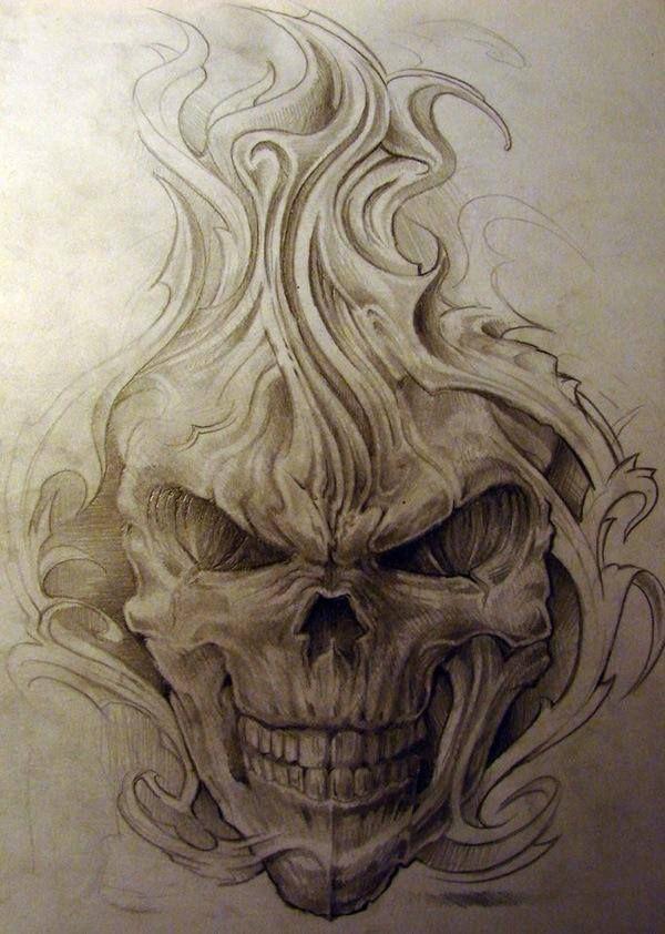Evil Skull Tattoos : skull, tattoos, ROUTHE, Skulls, Tattoos, Skull, Tattoo,, Drawing,, Tattoo, Design