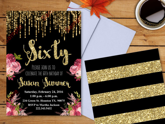 60th birthday invitation gold glitter invitation floral 60th birthday invitation gold glitter invitation floral invitation elegant birthday invitation filmwisefo Choice Image