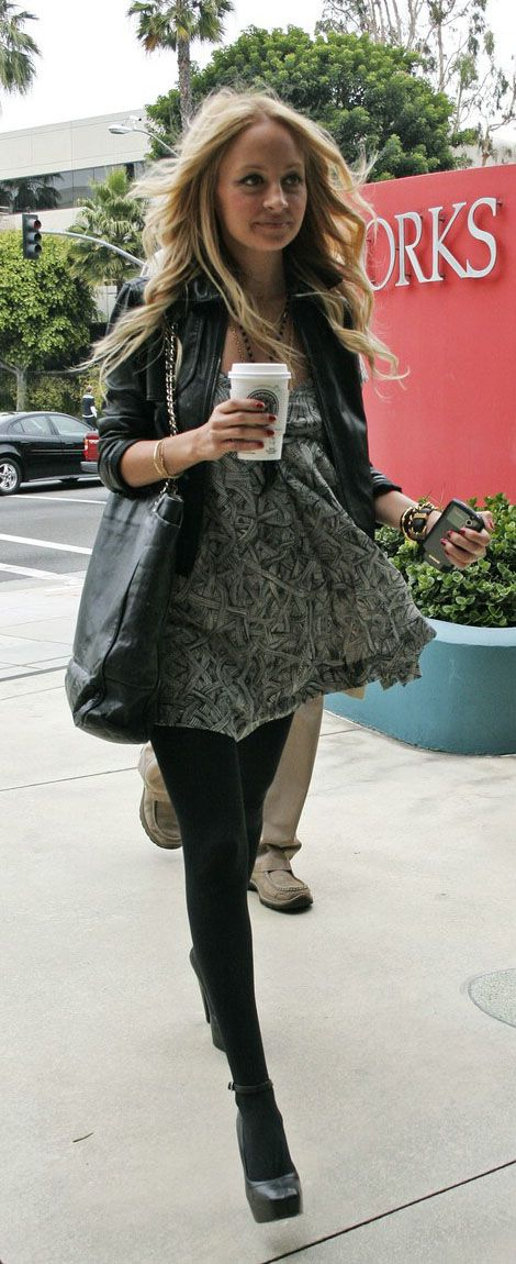 Nicole Richie Street Style Dress And Leather N R I C
