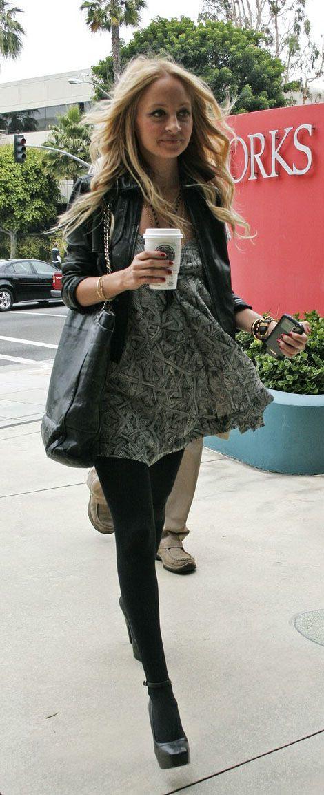 Nicole Richie Street Style Dress And Leather N R I C H I E
