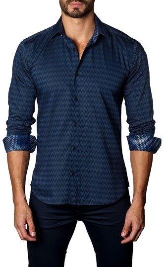 Jared Lang Men's Trim Fit Zigzag Sport Shirt