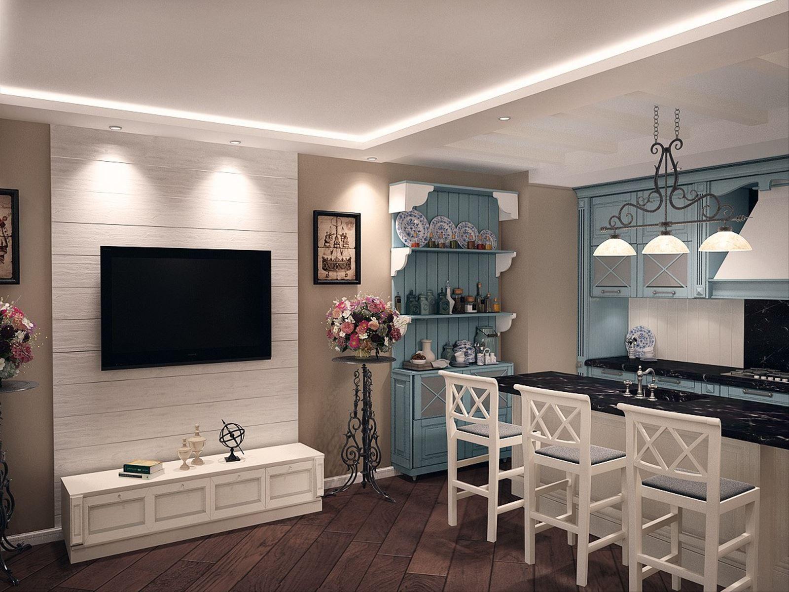 прованс гостиная кухня фото