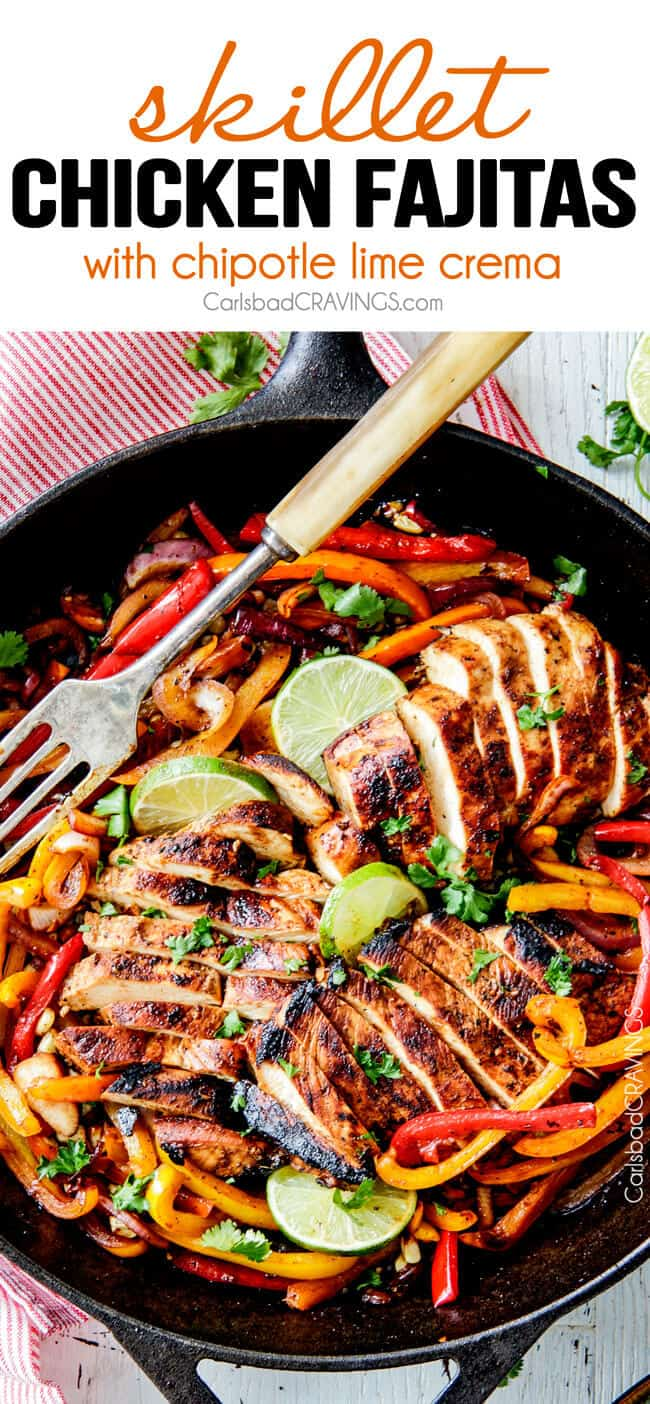 easy Skillet Chicken Fajitas - these are the BEST chicken fajitas! the marinade is seriously the best I've ever tried - better than any restaurant! My family LOVES these this filling so much we also use it for filling in burritos, enchiladas and salads! #beeffajitamarinade