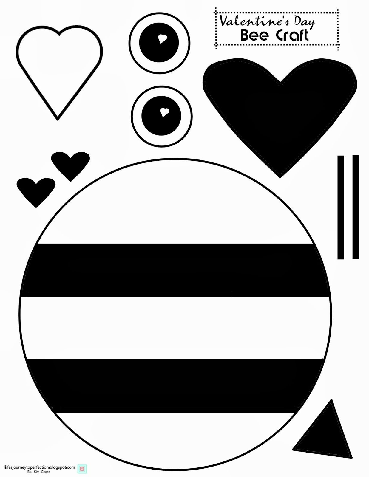 image regarding Printable Valentines Crafts referred to as Valentines Working day Bee Craft Printable Valentines Bee