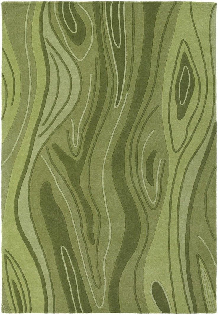 Inhabit Collection Hand-Tufted Area Rug, Green Wood Grain