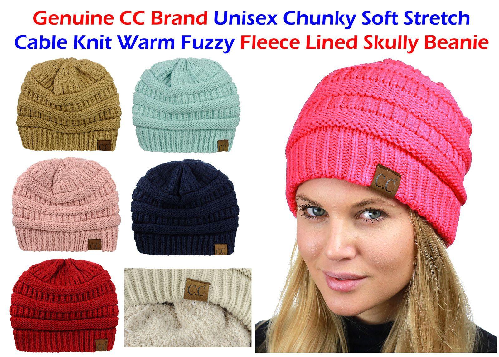 f64943b5639 CC Beanie Women s FLEECE LINED Chunky Soft Stretch Cable Knit Warm Fuzzy  Beanie