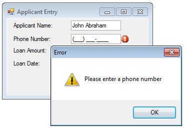 Input for WinForms controls have an ErrorInfo property which