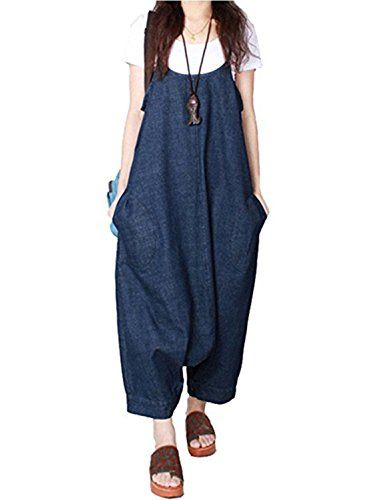 68053054911 Sacing Sacing Women Summer Plus Size Baggy Denim Overalls Casual Loose Wide  Leg Pants Sleeveless Rompers Haren Jeans With Pockets