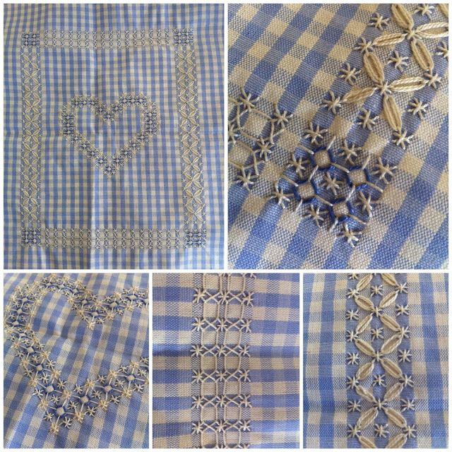 Picture of different stitches on blue gingham chicken