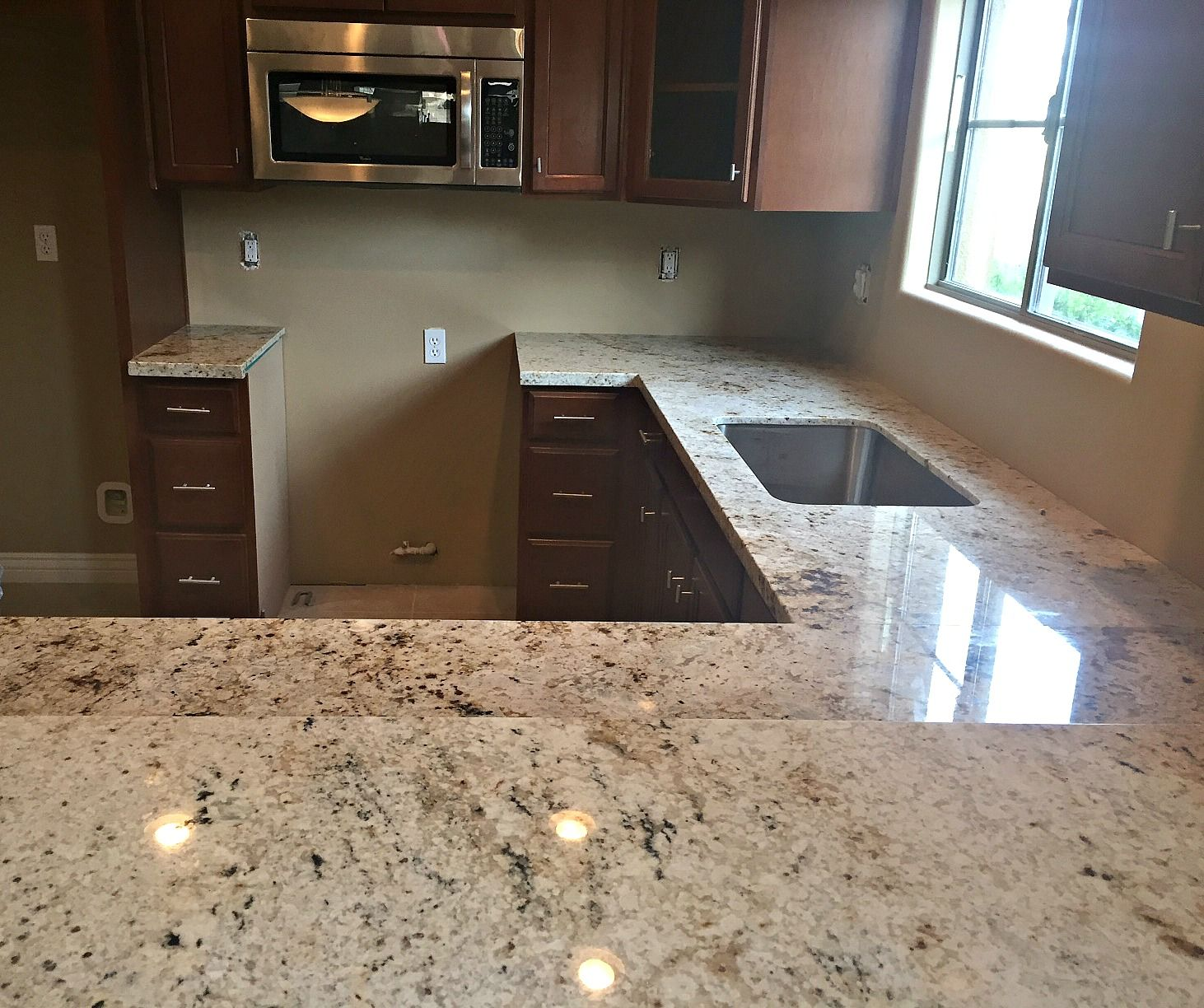Elegant Cafe Creme Granite Countertop Renovation In Phoenix, AZ With Flat Polish  Edge And Single Bowl Stainless Steel Under Mount Sink. Call Now For A Free  Estimate ...
