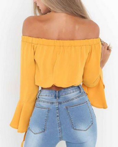f59f3ed2dcfb2 Cropped off the shoulder top bell sleeve chiffon blouse for teenage girls