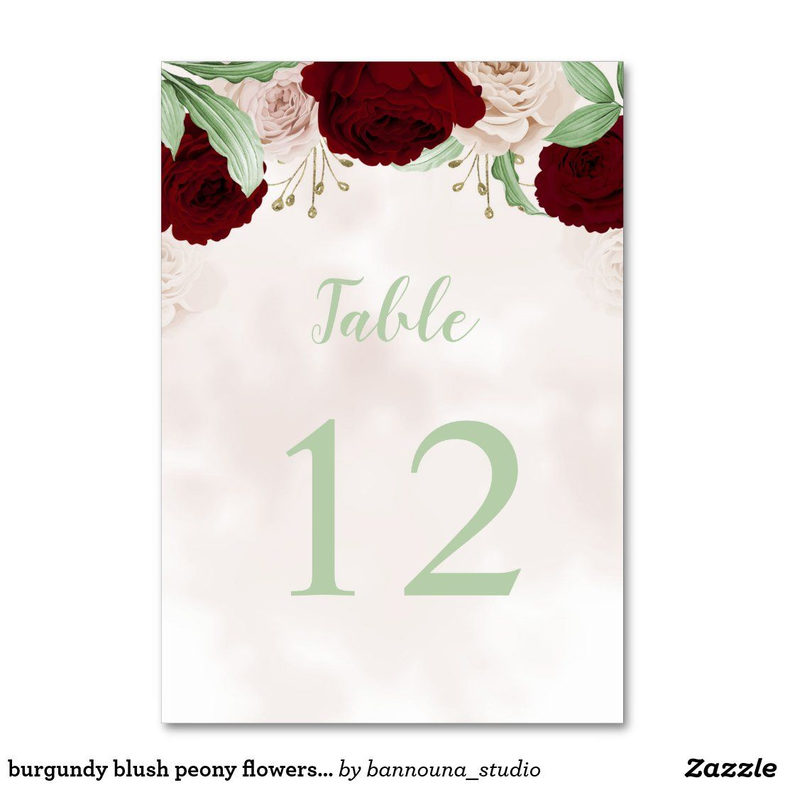 burgundy blush peony flowers green leaves table number | Zazzle.com