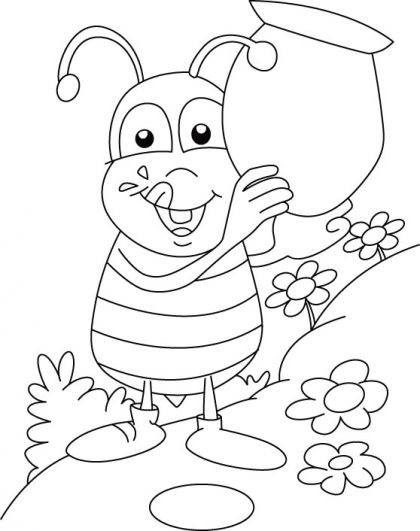 Honey Bee Collecting Sweet Coloring Pages