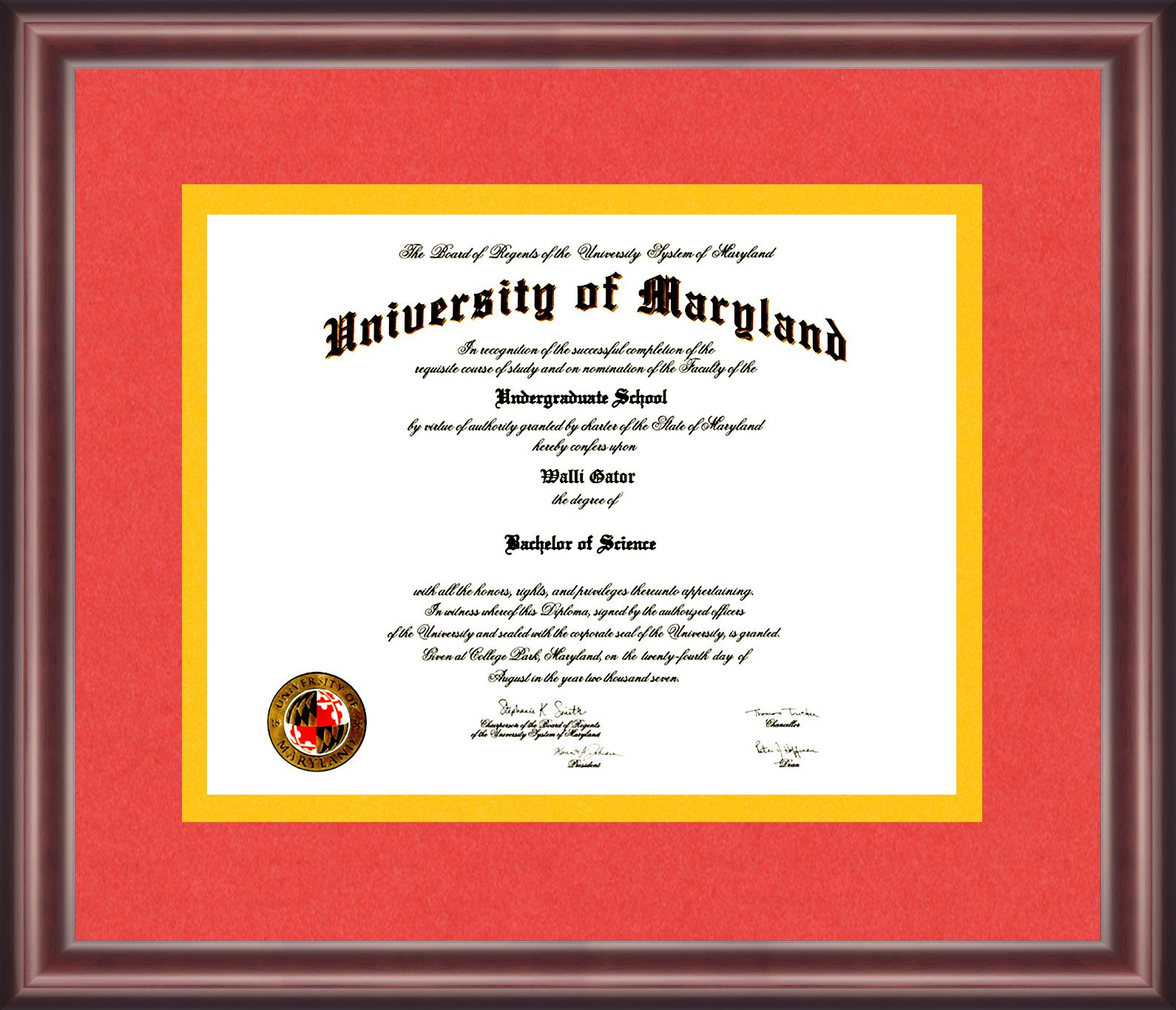 University Of Maryland Diploma Frame University Of Maryland