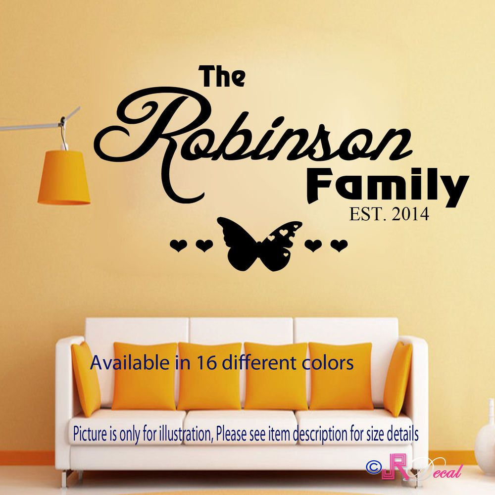 Personalised Family Name Wall Art Quote Wall Sticker Wall Decal Home ...