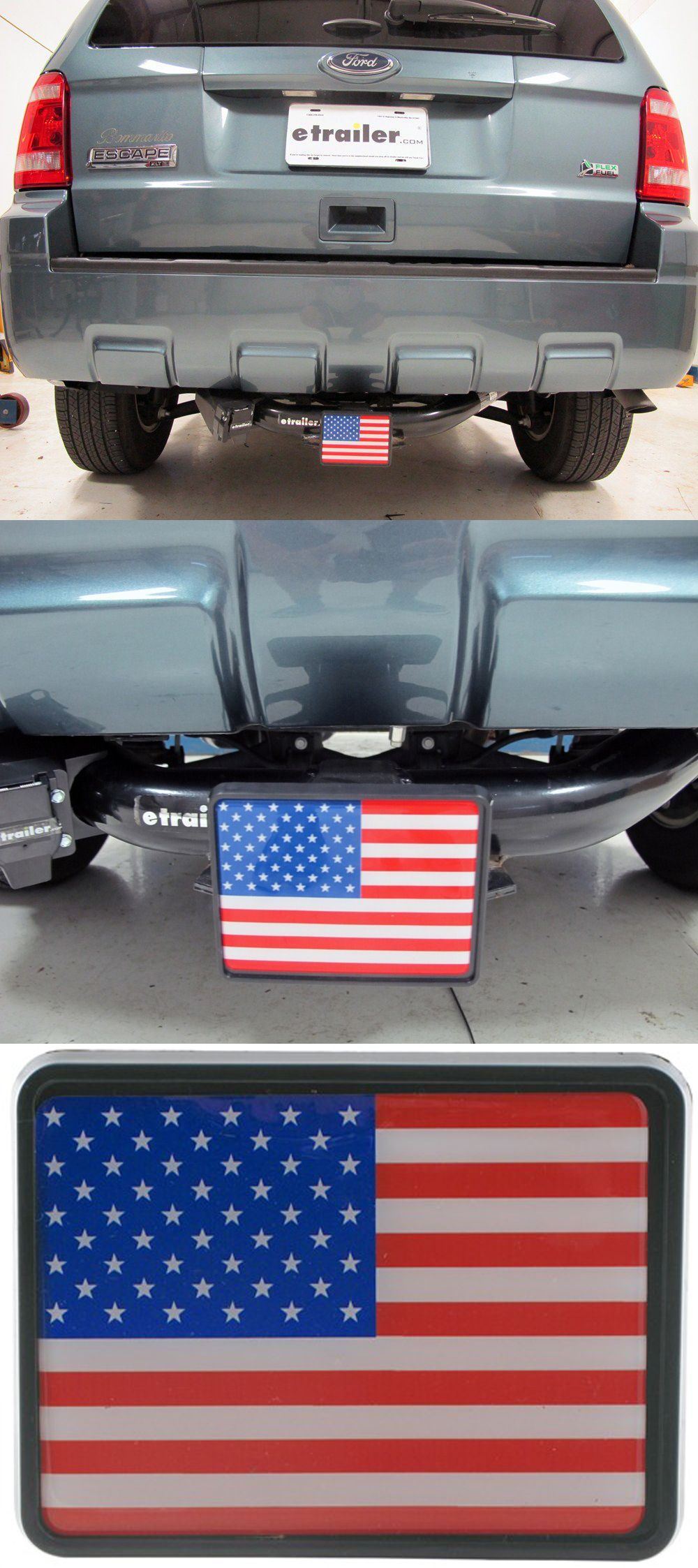 American Flag Hitch Plug - awesome for when bike racks and trailers are not in use! A cool idea to show some of that country pride! This accessory is compatible with many vehicles and hitches, including the Ford Escape!