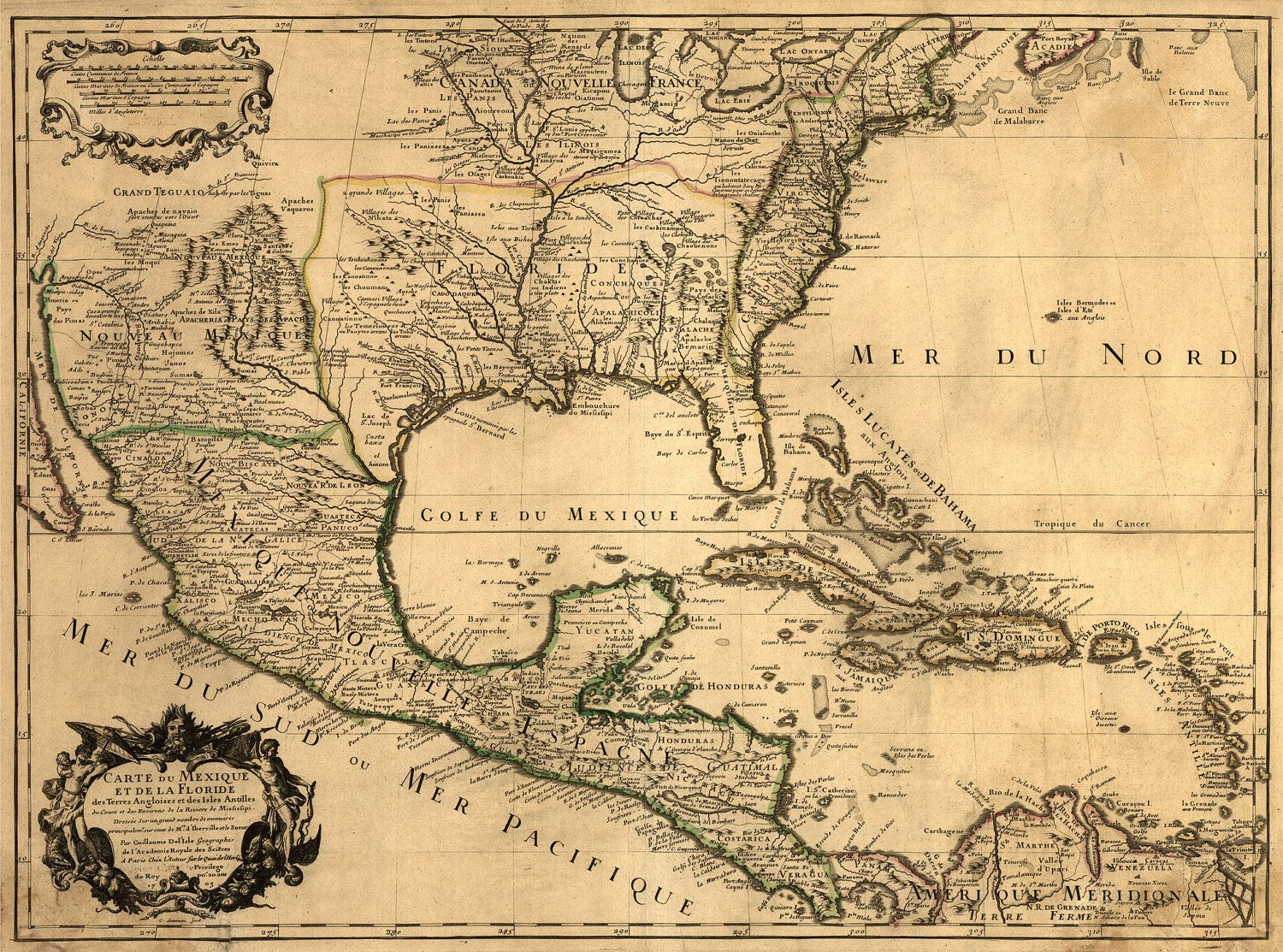 1703 U.S. MAP Nice Map 13x17 Old America Mexico Gulf - Unique Wall ...