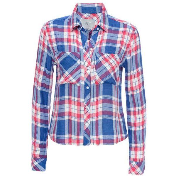 bda47bd2 Rails Dylan Cropped Shirt - Marina & Flamingo ($185) ❤ liked on Polyvore  featuring tops, shirt crop top, crop shirt, crop top, shirt tops and blue  crop top