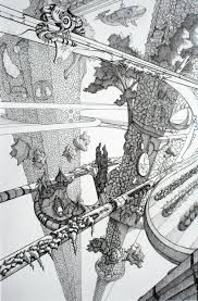 Resultado de imagem para pen and ink drawing  futuristics cities