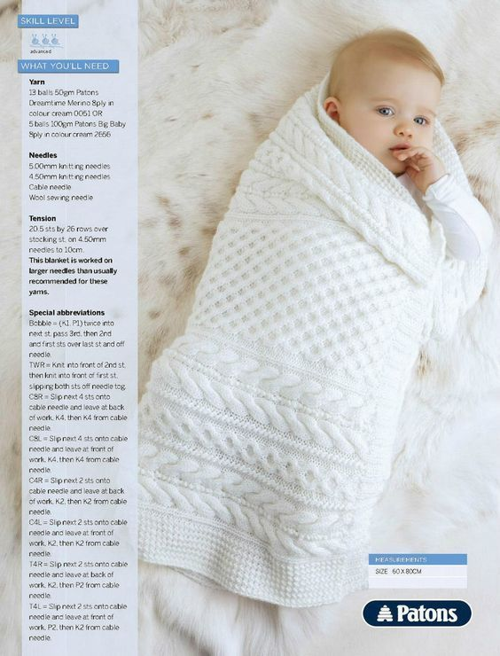 Cabled Baby Blanket Pattern to knit. | lãs <3 | Pinterest | Manta ...