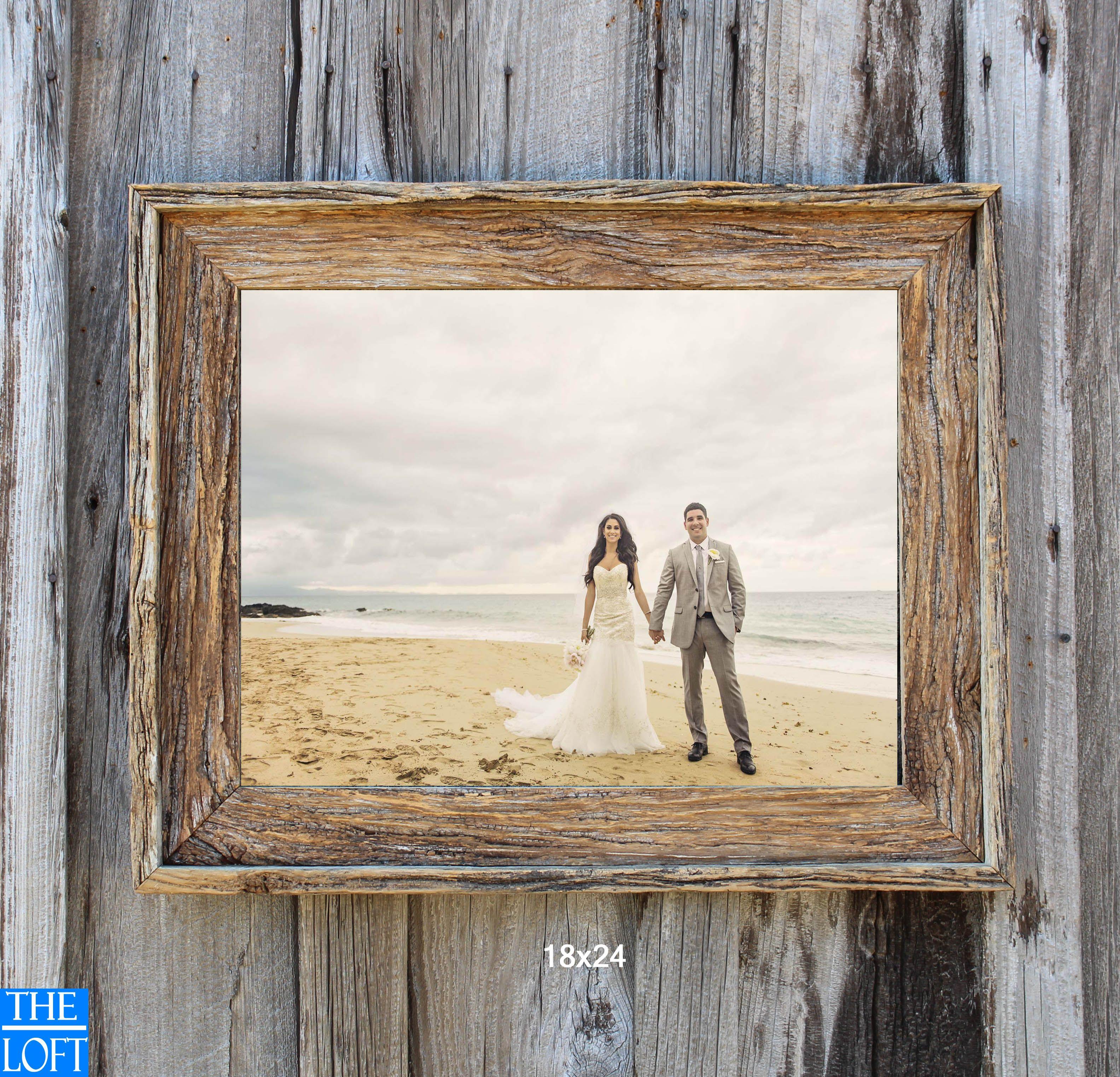 Natural 18x24 frame for customer   Rustic Barn Wood Frames ...