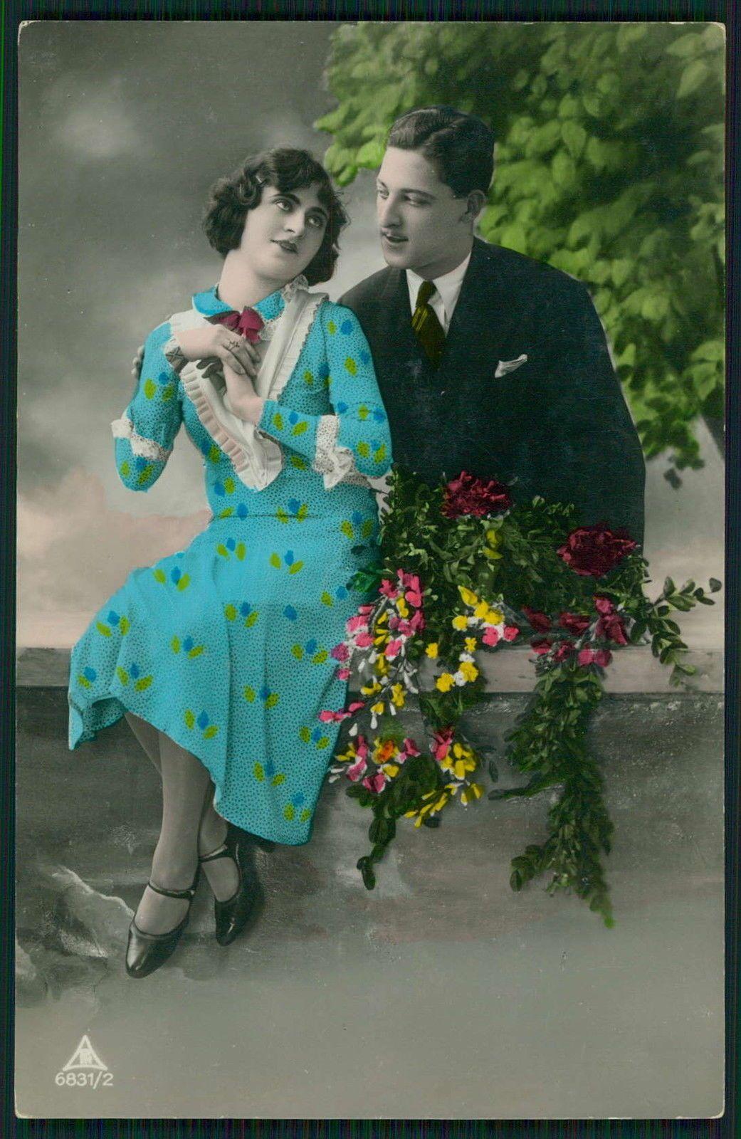 Edwardian love visit romance couple original old c1910s