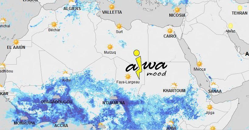 شبكة أجواء خرائط توقعات هطول الأمطار هذا اليوم بإذن الله على الوطن العربي و الله أعلم N Djamena Bechar Khartoum