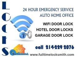 24 hour emergency service auto home office Wi-Fi door lock Hotel door locks Garage door lock 214-229 2076. www.fulltimelocksmith.com