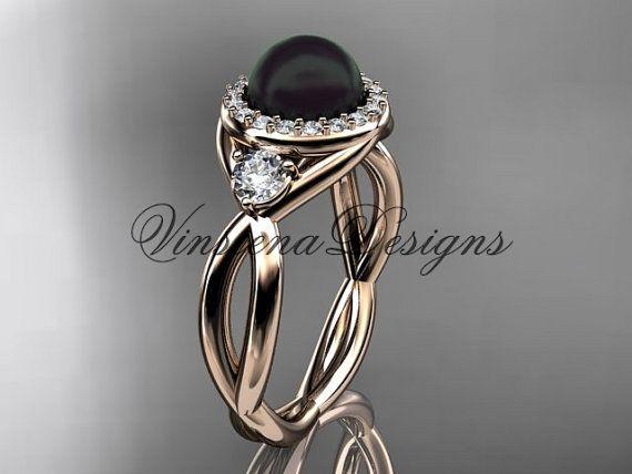 14kt rose gold diamond Round Tahitian Black by VinsienaDesigns