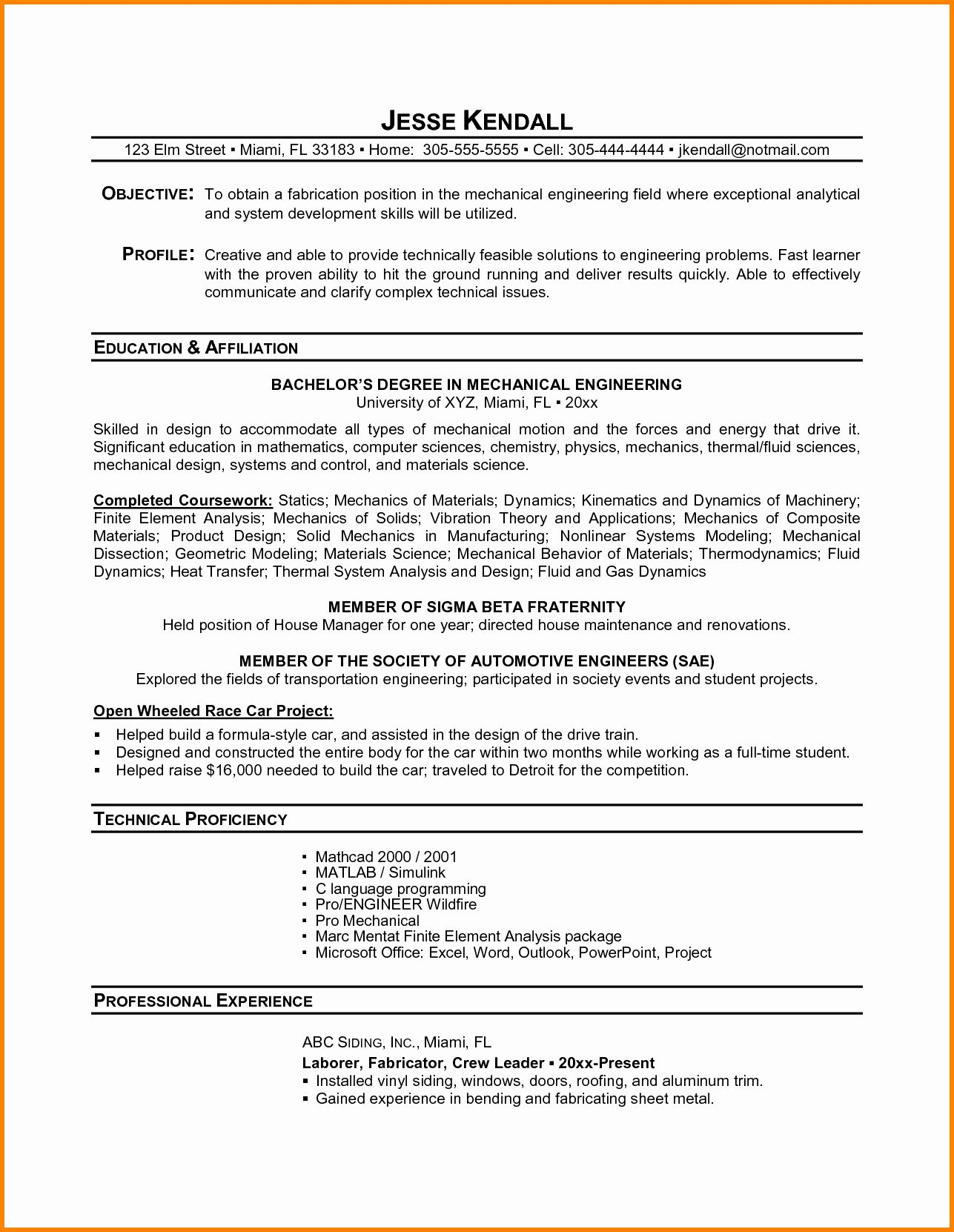 Engineering Resume Examples for Students Unique 10
