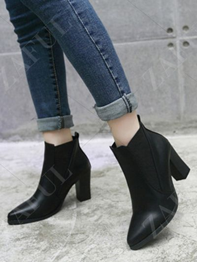 Pointed Toe Chunky Heel Elastic Ankle Boots